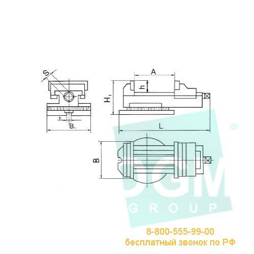 Тиски станочные поворотные 7200-0210-02 (125мм) чугун, Бар.