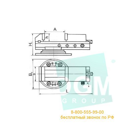 Тиски станочные поворотные 7200-0220-05 (200мм) сталь, Бар.