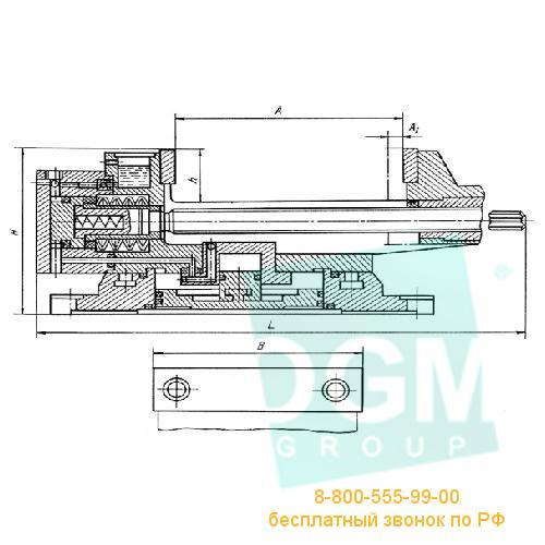 Тиски станочные пневматические с гидравлическим усилением 7201-0009-02 (160мм) чугун, Бар.