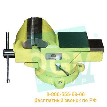 Тиски слесарные поворотные с наковальней Микротех ТС-100У